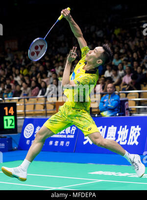 Wuhan Chinas Hubei Province Apr Lee Chong Wei Of Malaysia Hits Return Against Qiao Bin China During The Mens Singles First Round Match At Badminton Asia Championships In Capital Central April 25 Won By Credit Xiao Yijiuxinhuaalamy Live News Mfdepa Huang