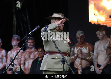 Sydney, Australia. 25th April 2018. The annual coloured digger march proceeded from 'The Block' to Redfern Park and was followed by the laying of wreaths and a remembrance ceremony to commemorate the involvement of Aboriginal and Torres Straight Islander soldiers in Australia's wartime efforts. Credit: Richard Milnes/Alamy Live News - Stock Photo