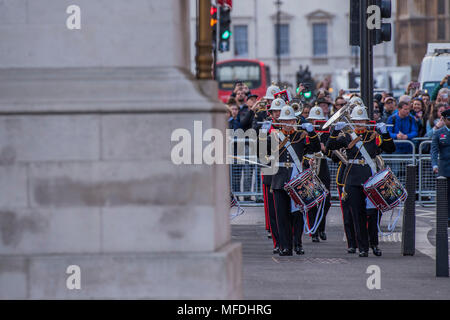 London, UK. 25th April 2018. The Royal Marines Band leads out veterans and relatives - Prince Harry and Boris Johnson attend an AnZAC Day memorial service at the Cenotaph, in Whitehall. Credit: Guy Bell/Alamy Live News - Stock Photo