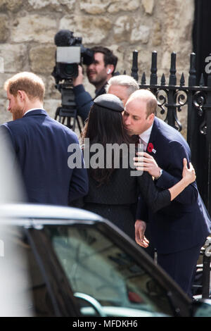 London, UK. 25th April, 2018. Prince William greets Meghan Markle as she arrives with Prince Harry at the Anzac Day service of thanksgiving and commemoration at Westminster Abbey. Credit: Mark Kerrison/Alamy Live News - Stock Photo