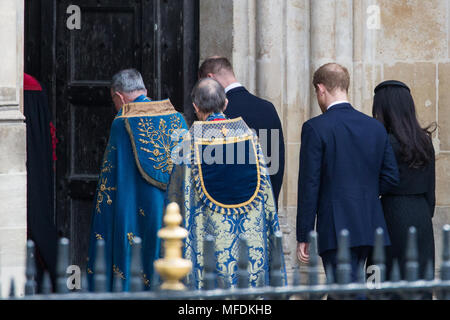 London, UK. 25th April, 2018. Prince William, Prince Harry and Meghan Markle arrive at the Anzac Day service of thanksgiving and commemoration at Westminster Abbey. Credit: Mark Kerrison/Alamy Live News - Stock Photo