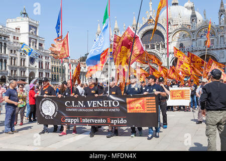 Venice, Veneto, Italy. 25th April 2018. Festivities in St Marks Square marking Liberation Day (Festa della Liberazione) commemorating the end of World War II and the Nazi occupation of Italy and Commemorating their fallen soldiers. For Venice it is also the Feast of St Mark (Festa di San Marco) the patron saint of the city marking the anniversary of his death. CLN group activating for the liberation of Venice from Italy as a democracy in  Piazza San Marco . Credit MCpics/Alamy Live News - Stock Photo