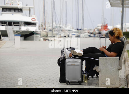 April 25, 2018 - Palma, Balearic Islands, Spain - Starting in July, homeowners in Palma, on the Balearic Island of Mallorca, will not be allowed to rent out their apartments to tourists. It's a pioneering measure in Spain, where other cities are also struggling with the consequences of mass tourism, including overcrowded centers and soaring rent.  It is expected that the measure will be approved initially in the municipal plenary session on Thursday,April 26, to be submitted to a period of public exposure and have final approval in full in July. (Credit Image: © Clara Margais via ZUMA Wire) - Stock Photo