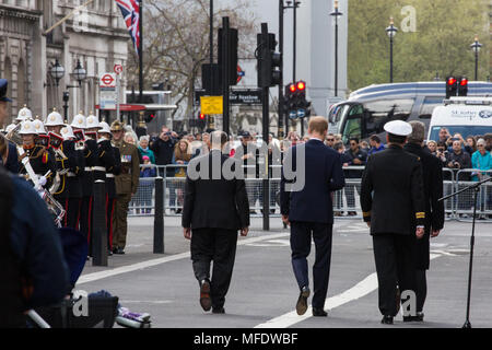 London, UK. 25th April, 2018. Prince Harry walks away from the Cenotaph following a wreath laying ceremony to mark ANZAC Day. Credit: Mark Kerrison/Alamy Live News - Stock Photo