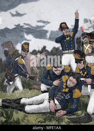 Death of Sir John Moore (British army) at the Battle of Corunna. 1809. Peninsular War. Napoleonic Wars. Engraving, 19th century. - Stock Photo