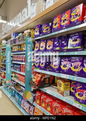 Easter eggs on display in a supermarket.  Featuring: Atmosphere, View Where: London, United Kingdom When: 25 Mar 2018 Credit: Dinendra Haria/WENN - Stock Photo