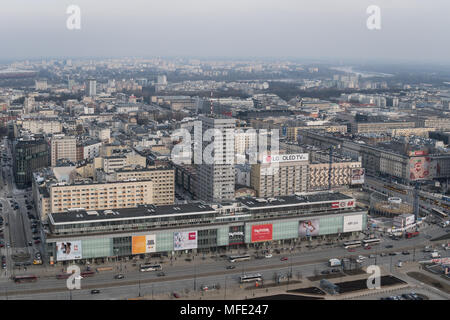 Warsaw, Poland - March 5 2018: Aerial view of Warsaw City center with shopping malls and office buildings in Poland capital city. - Stock Photo