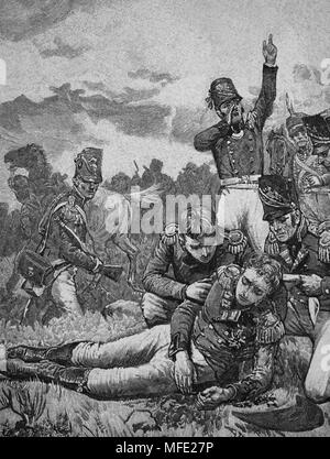 Death of Sir John Moore (British army) at the Battle of Corunna. 1809. Peninsular War. Napoleonic Wars. Engraving, 19th century. - Stock Photo