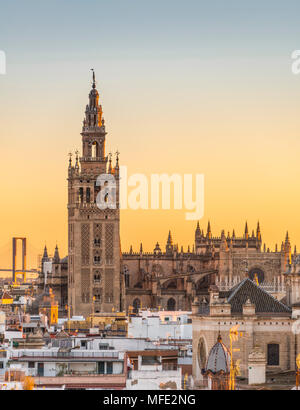 View of La Giralda, Bell Tower of the Cathedral of Seville, Sunset, Catedral de Santa Maria de la Sede, Seville, Andalusia - Stock Photo