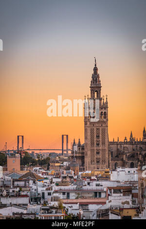 View of La Giralda at sunset, bell tower of the Cathedral of Seville, Catedral de Santa Maria de la Sede, Seville, Andalusia - Stock Photo