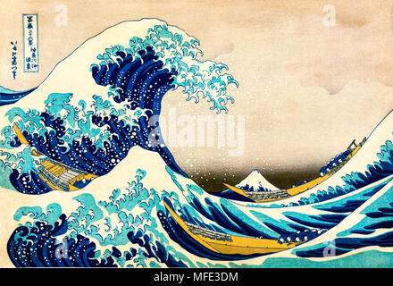 Colored woodcut Under the Wave off Kanagawa, Kanagawa oki nami ura, The Great Wave, from the series Thirty-six Views of Mount - Stock Photo