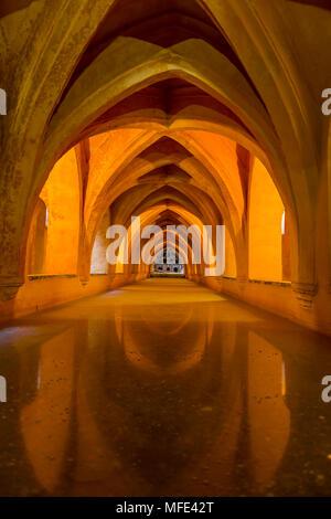 Historic Baths, Los Baños de Doña María de Padilla, Alcázar Palace, Royal Palace of Seville, Sevilla, Spain - Stock Photo