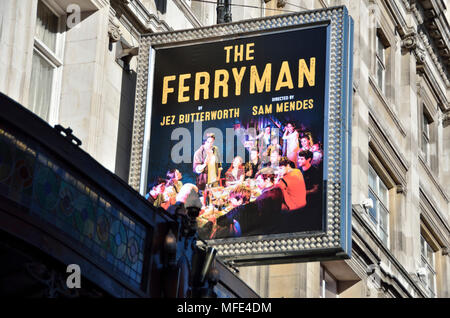 The Ferryman billboard outside the Gielgud Theatre in Shaftesbury Avenue, London, UK. - Stock Photo