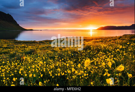 The picturesque sunset over landscapes and waterfalls. Kirkjufell mountain,Iceland - Stock Photo