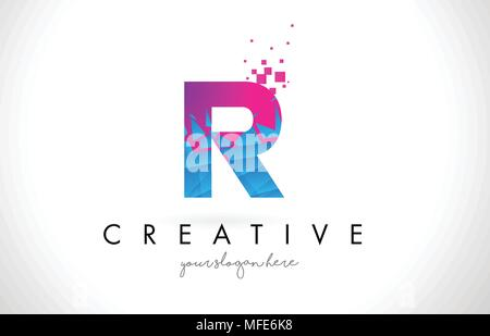 R Letter Logo with Broken Shattered Blue Pink Triangles Texture Design Vector Illustration. - Stock Photo