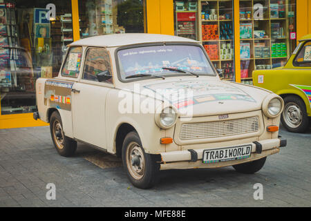 Berlin, Germany - May 16, 2017: Vintage Trabant cars at Trabi Musem. The automobile was produced from 1957 to 1990 by former East German auto maker VE - Stock Photo
