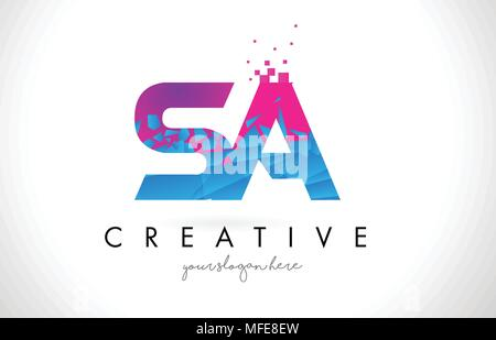 SA S A Letter Logo with Broken Shattered Blue Pink Triangles Texture Design Vector Illustration. - Stock Photo