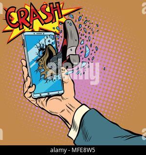 Hacking the phone, concept. Leg breaks smartphone screen - Stock Photo