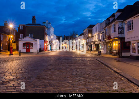 Blue Hour light just after sunset showing West Street and its array of Medieval buildings in the market town of Faversham, Kent, UK. - Stock Photo