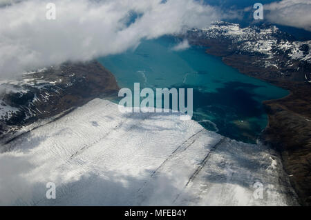 NORDENSKJOLD GLACIER aerial South Georgia Island. - Stock Photo