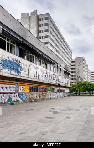 Graffiti on the derelict former 'Haus der Statistik' (house of statistics) along Otto Braun Strasse in the central district Mitte in Berlin, Germany - Stock Photo