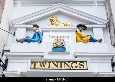 London, United Kingdom - March 27, 2015: Above the door at the home of Twinings Tea on the Strand in London. - Stock Photo