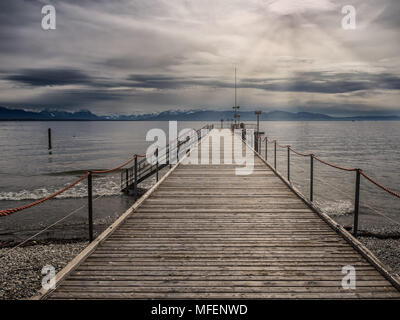 Bodensee panorama from Lindau, Germany - Stock Photo