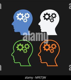 Human heads with gears - Stock Photo