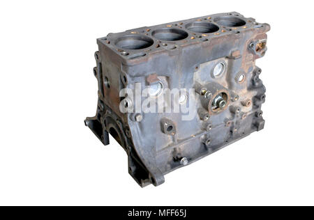 Disassembled diesel engine for repair. The cylinder block is clean. - Stock Photo