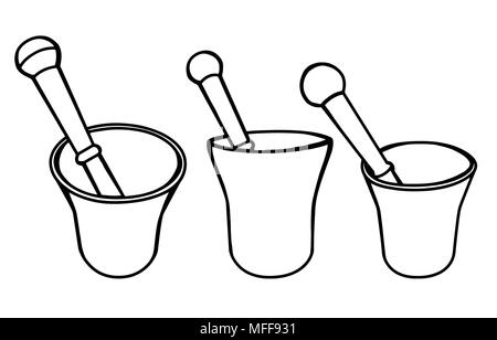 Set ofHand drawn mortar and pestle vector illustration. Simple outline drawing of kitchen or pharmacy equipment. Grinding herbs and spices. - Stock Photo