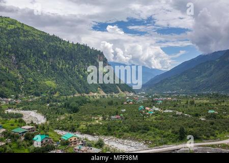 Beautiful panorama of green Kullu valley in Himachal Pradesh state, India - Stock Photo