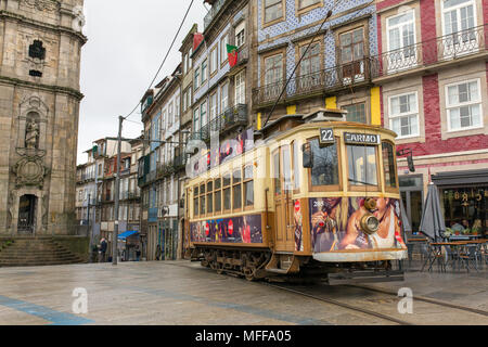 Porto, Portugal - January 16, 2018: Old tram in Porto, Portugal. - Stock Photo