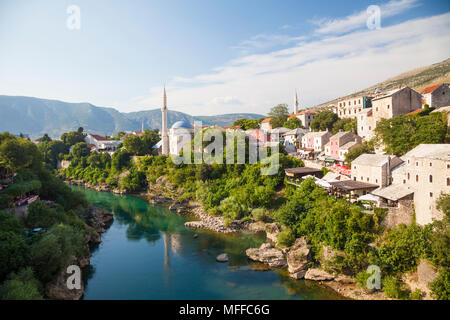 View over Mostar in evening light from the Stari Most, Old Bridge in Mostar, Bosnia and Herzegovina - Stock Photo