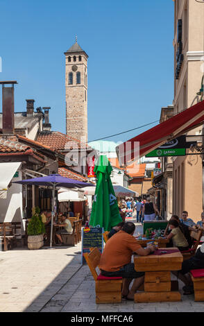 A street cafe in the old town of Sarajevo, Bosnia and Herzegovina - Stock Photo