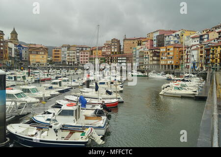 Berneo Port With Its Fishing and Sports Boats In Mooring By Huracan Hugo. Navigation Travel Nature. March 24, 2018. Bermeo. Biscay. Basque Country. Sp - Stock Photo