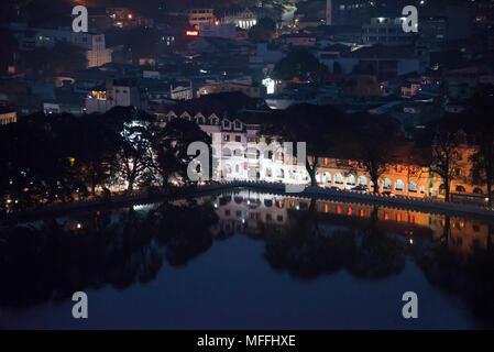 Horizontal cityscape of Kandy at night, Sri Lanka. - Stock Photo