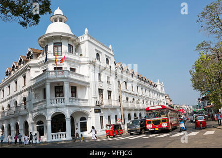 Horizontal view of the Queen's Hotel in Kandy, Sri Lanka. - Stock Photo