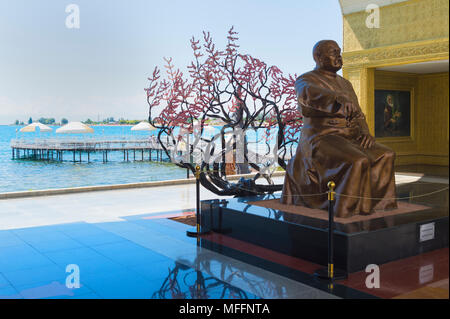 Sayakbay Karalaev statue, Writer of the famous epic Kyrgyz poem Manas, Ruh Ordo Cultural complex named after famous Kyrgyz writer Chinghiz Aitmatov, I - Stock Photo