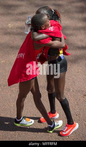Virgin Money London Marathon 2018. Vivian Cheruiyot (KEN) winner, with Brigid Kosgei (KEN) second. - Stock Photo