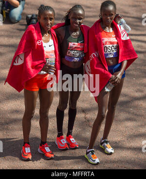 Virgin Money London Marathon 2018. Vivian Cheruiyot (KEN) winner, with Brigid Kosgei (KEN) second and Tadelech Bekele (ETH) third. - Stock Photo