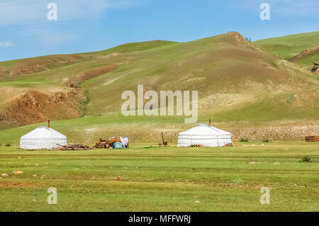 Shine-Ider District, Mongolia -  July 22, 2010: Mongolian yurts called gers on steppe in Khovsgol Province, northern Mongolia - Stock Photo