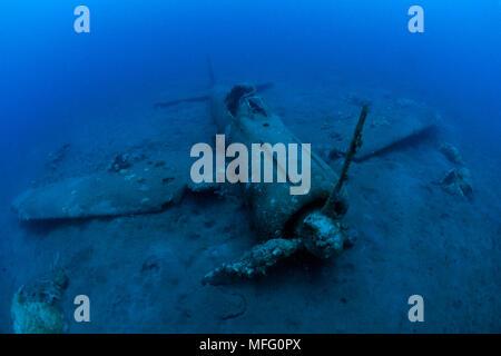 Wreck of airplane Zero A6M2b-Model 21, n¡8224, Gabuna Sulphur area, Walindi, Kimbe Bay, West New Britain, Papua New Guinea, Pacific Ocean - Stock Photo