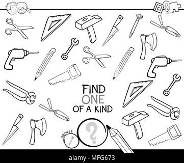 Black and White Cartoon Illustration of Find One of a Kind Picture Educational Activity Game for Children with Tools Objects Coloring Book - Stock Photo