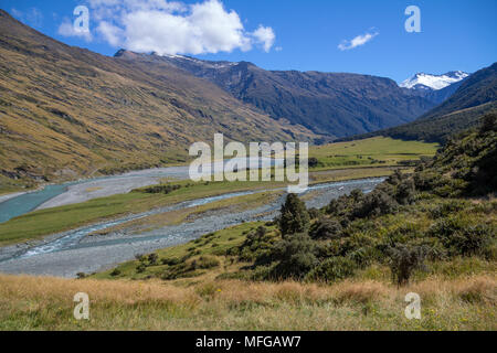 With a gradual climb up from river, Rob Roy Glacier Track in Mount Aspiring National Park, near Wanaka in New Zealand is a popular day hike or tramp - Stock Photo