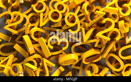 3d Rendering of yellow p[ile of numbers on white reflective surface closeup - Stock Photo