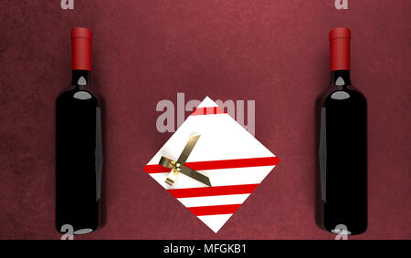 3D Rendering Two Red Wine Bottles With Gift Box In The Middle On Cotton Surface With Empty Space St.Valentine`s Day - Stock Photo