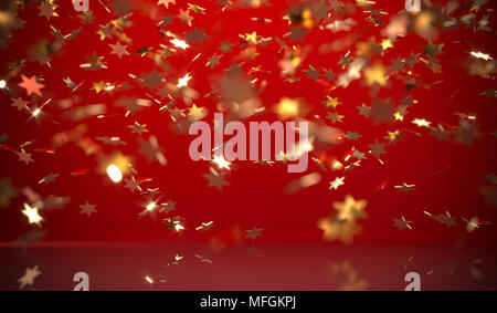 3D Rendering Of Red Background With Falling Gold Conffeti - Stock Photo