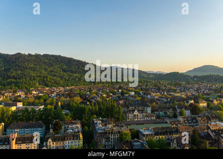 Germany, Green city Freiburg im Breisgau from above between nature forest landscape