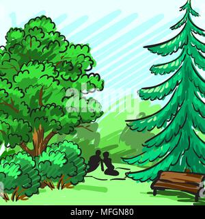 Spruce and green tree in the background. Park, an empty bench, a couple on a picnic. Corporate identity is drawn by hand. Vector illustration - Stock Photo