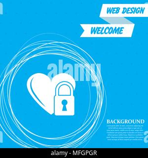 heart lock icon on a blue background with abstract circles around and place for your text. Vector illustration - Stock Photo